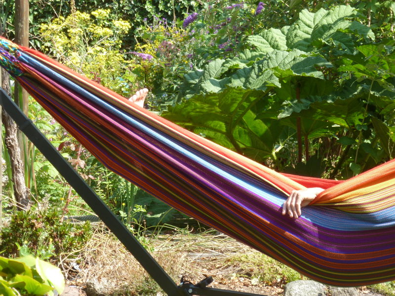Relaxen in de tuin van Bed and Breakfast Meander te Gasteren